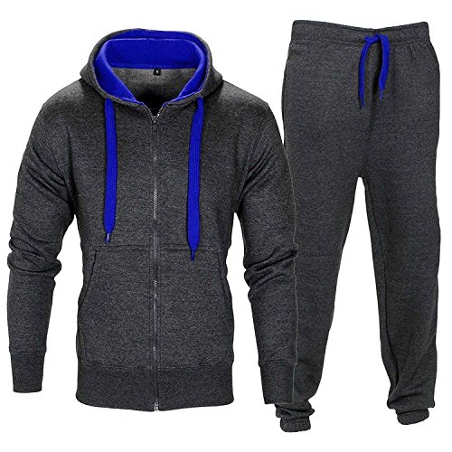 Herren Trainingsanzug Kontrast Fußball Sportanzug Fitnessstudio Fleece Kapuzenpullis Jogginghose Jogginghose Gym Set S-5XL