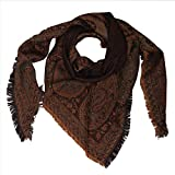 KCS Kashmir Shawl Emporium Women's and Girl's Wool Paisley Triangle Scarf/Stole In Merino (STK-35, Rust Brown)
