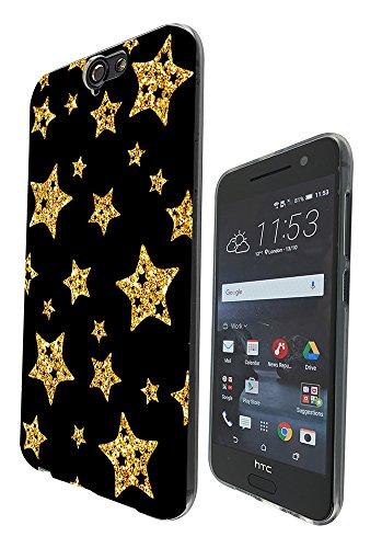 003404 - Sparkle gold stars Design Htc One A9 Fashion Trend Silikon Hülle Schutzhülle Schutzcase Gel Rubber Silicone Hülle