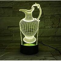 Florero Botella 3D Acrílico Noche Luz USB Sueño accesorio de luz 3AA Batería de mesa Lámpara