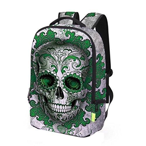 Fami- Sacchetto di scuola della spalla dello zaino dello zaino del sacchetto di viaggio della Galassia 3D unisex Verde