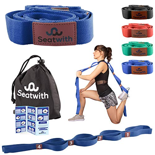 Seatwith Gymnastik-Gurt mit 10 Schlaufen | Yoga-Gurt 200 x 4 cm | Stretch-Strap für mehr Beweglichkeit | Gratis Transportbeutel & Traininsanleitung PDF| Fitness Pilates Physiotherapie Stretch-Gurt
