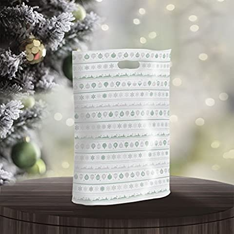 200 X Festive Forest Plastic Carrier Bags with punched out