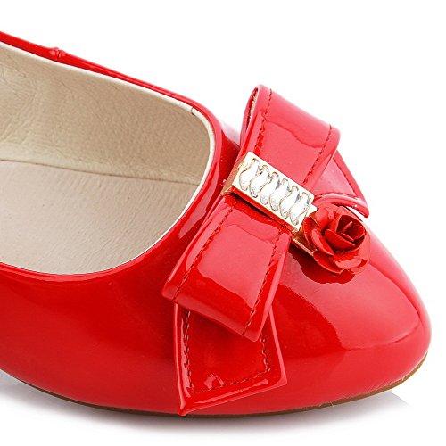 VogueZone009 Femme Tire Pu Cuir Rond à Talon Bas Mosaïque Chaussures Légeres Rouge