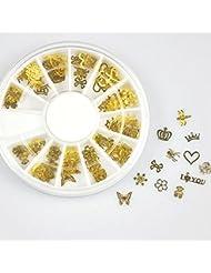 Five Seasons Stickers Ongles Paillettes Doré en 12 Formes Pour DIY Décoration