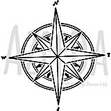 Azeeda A3 'Kompass Stern' Wandschablone/Vorlage (WS00024530)