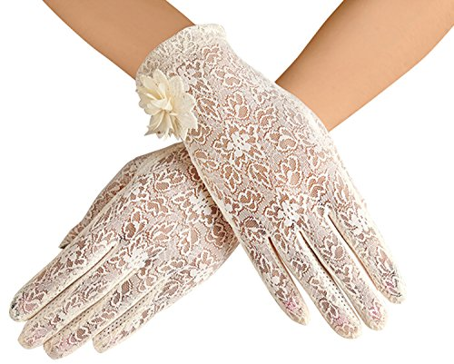 Frauen schnüren sich Handschuhe Summer Sun Glove Fahren Schirm Noten Handschuhe (Beige)