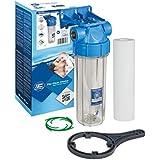 """25,4cm Aquafilter Filtre à eau en ligne Logement Transparent, compatible avec cartouches 25,4cm standard, Plastique, 1/2"""""""
