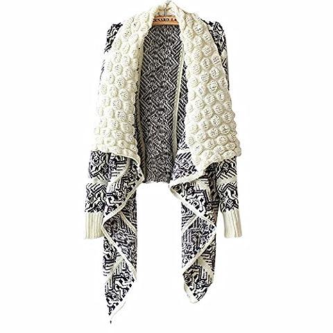 YALL Pull Tricot Femmes Vintage Motif Géométrique Grand Châle Cravate,Mi,Taille