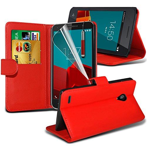 Spyrox ( Black ) Vodafone Smart Prime 6 Hülle Abdeckung Cover Case schutzhülle Tasche Stylish Fitted Tough Survivor Fest Rugged Shock Proof Heavy Duty Case W / Back-Stand, LCD-Display Schutzfolie, Pol Wallet + Stylus ( Red )