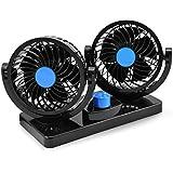 Taotuo 12V ventilador de coche eléctrico de 360 grados rotativo 2 velocidad doble cabeza de ventilador de aire de circulación de aire del ventilador para camiones SUV RV barco de vehículos