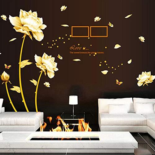 Platin Blume Wandaufkleber Wohnzimmer Schlafzimmer Sofa TV Wand Hintergrund Dekoration Aufkleber 60 * 90 Cm Yh0680 -
