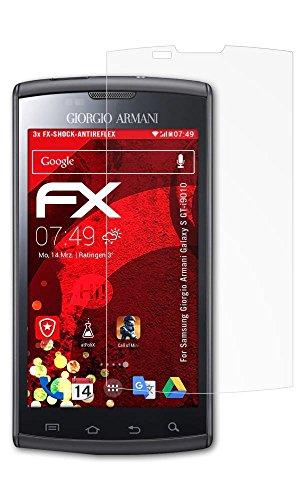 Samsung Giorgio Armani Galaxy S (GT-i9010) Panzerfolie - 3 x atFoliX FX-Shock-Antireflex blendfreie stoßabsorbierende Panzerschutzfolie Displayschutzfolie