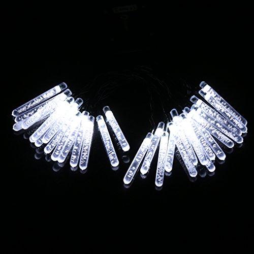 Impermeabile luce stringa LED Anten® per esterni ad energia solare con funzione di dusk to dawn dark sensing auto on/off,30pcs luci LED solari per giardini, balconi, natale, feste, matrimoni (bianca) - ghiacciolo (Sconto di fine anno)