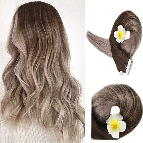 Full Shine 18 Zoll 20 Stuck 50 Gram Per Package Salon Professional Hair Haar Farbe # 4 Fading zu # 18 Balayage Extensions Seamless Tape in Ombre Remy Haar Extensions -