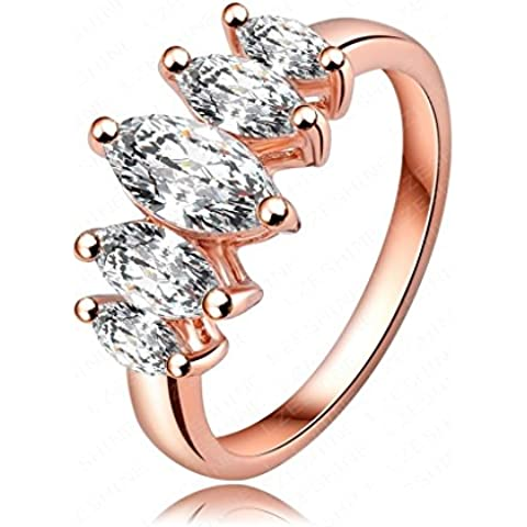 AieniD Joyas de Moda Anillo Compromiso de Mujer Chapado en Oro Rosa Blanco y Oro Brillantes Diamante Imitacón Sortija