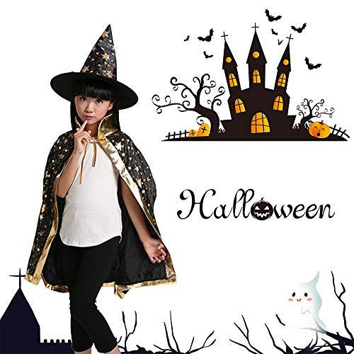Kostüm Sterne Kind - Wankd Kinder Halloween Kostüm, Kinder Kostüm Zauberer Umhang, Zauberer-Kostüm für Halloween, Umhang mit Sternen, Hexenhut für Kinder (Schwarz)