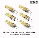 Ecoflare - Bombilla G4 de 1,8 W con certificación CE y certificación AC/DC, antiparpadeo e interferencia cero con Dab y WiFi, Warm White, G4, 1.80W