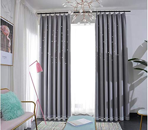 Fertigen Produkt-modell (GHFDSJHSD Vorhang Doppelt Schattierung Durchbrochen Star Prinzessin Wind Romantisch Schlafzimmer Wohnzimmer Fertiges Produkt Grau Verknüpfte Modelle Eine Scheibe)