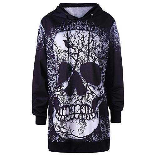 OverDose Damen Herbst Mode Frauen Plus Size Langarm Halloween Wütend Kürbis Skew Neck Tee Clubbing Party Bar Verrückte Bluse Tops (Hello Halloween Kostüm Kitty)