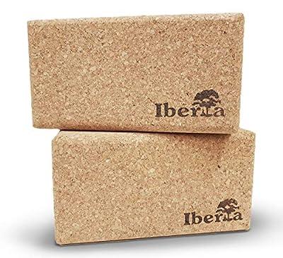 Iberia Yoga Block 2 STK. aus ökologischem Kork 227x120x75mm - Zubehör für Yoga Pilates Handstand – Fitnesswürfel Hometrainer