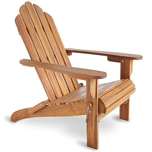 VonHaus Folding Adirondack Chair - Outdoor Garden Furniture made from Acacia Hardwood with Oiled Finish Test