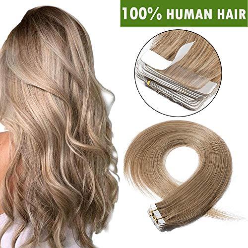 "18""(45cm) Extensiones Adhesivas de Cabello Natural Sin Clip [2.5g*20pcs] #27 Rubio Oscuro 100% Remy Pelo Humano Tape in Hair Extensions (50g)"