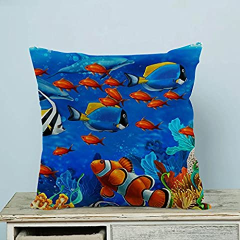 Custom Underwater World Ocean Animals Fish Coral Pillowcase Pillow Case Two Sides for Couch Bed,Zippered Cushion Pillow Cover Shams Decorative 20x20 (Coral Sham)