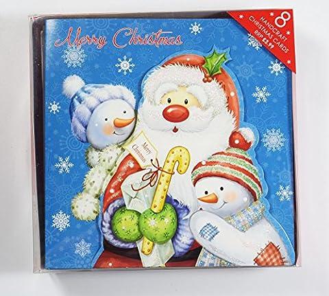 Weihnachten Karten 8Pack Glitter Vers Grußkarte Schneemann Santa Cute Kids Box Weihnachts