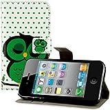kwmobile Wallet Case Kunstlederhülle für Apple iPhone 4 / 4S - Cover Flip Tasche in Eule Schlaf Design mit Kartenfach und Ständerfunktion in Grün Schwarz Weiß