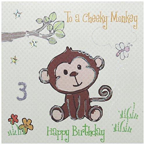 To A Cheeky Monkey Happy Birthday 7,6cm 3. Geburtstag mit Affe Design, handgefertigt, Weiß (Monkey Einladungen)