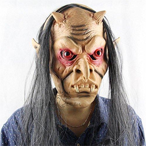 SQCOOL Halloween Lustig die ganze Person Horror Geist Maske Tanz Horror Ghost Maske Latex lange rote Augen Teufel (Scary Frau In Teufel Kostüm)