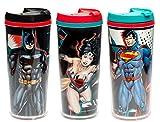 Zak. Designs DC Comics'Justice League' 3pk Gobelet de voyage isotherme Tasses. avec Batman, Wonder Woman et Superman.