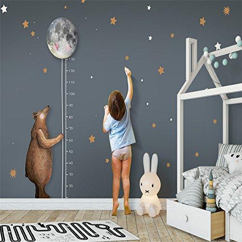 Yosot Custom Photo 3D Tapeten Hochwertige Nicht-Cartoon Gewebte Nordic Einfache Bär Mond Höhe Kinder Zimmer Hintergrund Wand-140Cmx100Cm