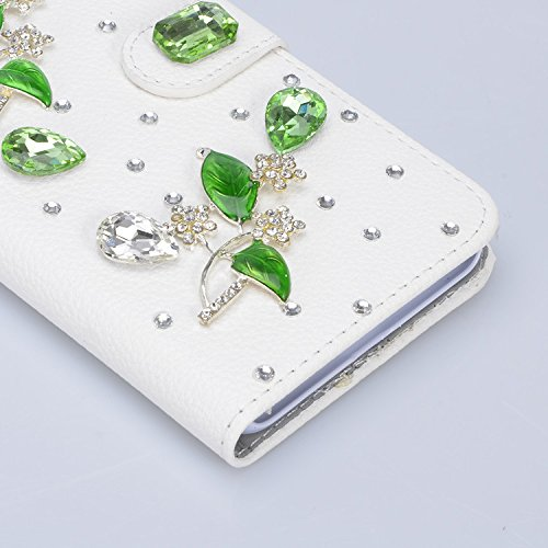 3D Coque iPhone 8 Plus Housse Étui 3 en 1 PU Cuir Case, Vandot Luxe Brillant Diamant Coque Bling Bling Cristal Strass Cover Motif Ange Elf Couverture Magnetic Flip avec Support Stand Wallet Case pour  Diamant 26