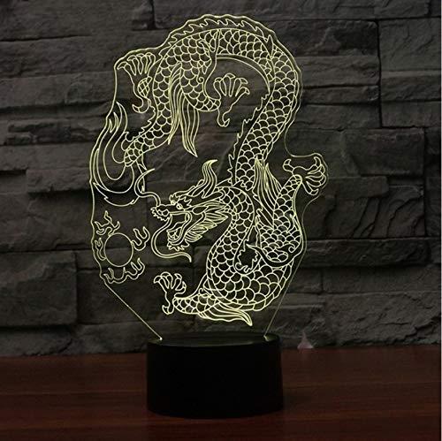 3D Led Nachttischlampen 7 Farben Touch Schalter Chinese Dragon Tischlampe Usb Raum Atmosphäre Dekor Bunte Beleuchtung Für Kind Geschenk