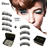 Dkina Natural Magnetic Eyelashes, Reusable Magnetic Lashes Free of Glue, Magnet Lashes with Handmade Natural Soft Fiber, 3D False Eyelashes with 3 Magnets.(2Pairs/8Pieces)