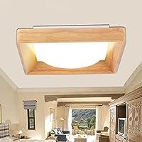 BBSLT Dimmerabile soffitto lampada legno nordico stile giapponese minimalista moderno camera da letto tinta legno lampada illuminazione soggiorno luce in camera calda 375 * 375 * 90 mm