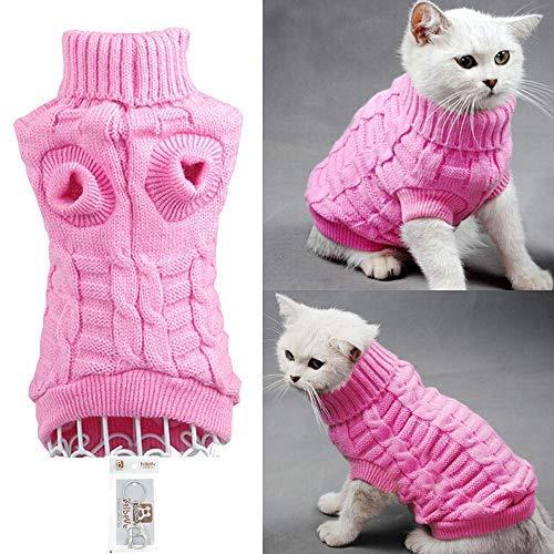 Bro 'Bear Kabel Knit Rollkragen Pullover für Kleine Hunde & Katzen Maschenware, X-Small, Rose (Kabel-knit Sweater-stoff)