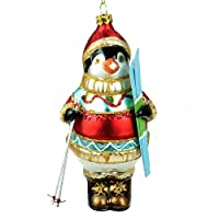 Hand Painted Skiing Penguin Christmas Decoration (14cm)