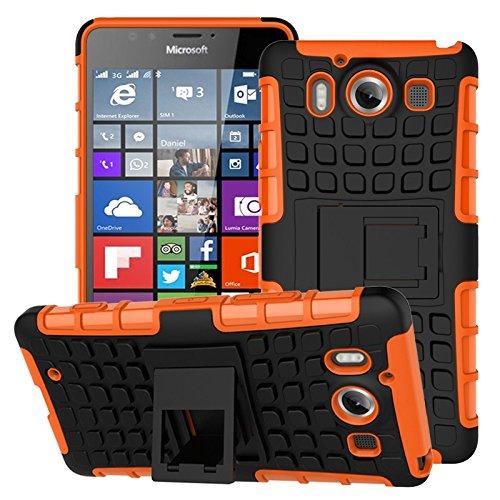 YHUISEN Lumia 950 Case, Dual Layer Rüstung Schockabsorbierende Schutzhülle mit Kickstand Für Microsoft Lumia 950 ( Color : Purple ) Orange