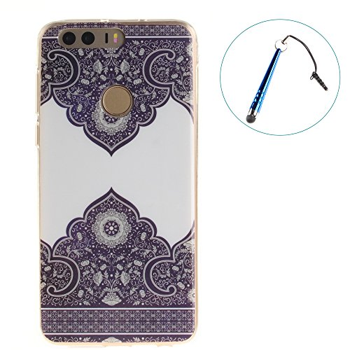 Huawei Honor 8 Coque,BLKJ Huawei Honor 8 Housse Etui TPU Silicone Clair Ultra Mince Anti-Scratch Back Case Cover pour Honor 8 - 1 Gratuit Touch Pen (Wind chime in Black) Blue and White Porcelain