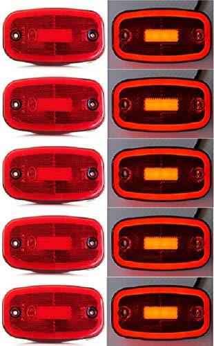 VNVIS Juego de 8 luces LED de posici/ón de 24 V y 12 V con soportes de goma para remolque cami/ón remolque cami/ón remolque cami/ón remolque cami/ón cami/ón