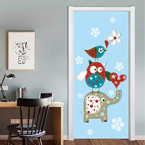 Pandaboom elefanti della famiglia del fumetto 3d adesivo murale autoadesivo per camera dei bambini camera da letto armadio porta rinnovare decalcomania 95x215cm