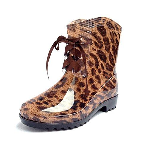 les bottes de printemps et en été la mode des femmes dans le tube chaud et imperméable Mlle Gao Gen chaussures d'eau gelée leopard grain