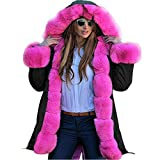 iHENGH Damen Winter Jacke Dicker Warm Bequem Parka Mantel Lässig Mode Frauen Faux Fur Hooded Coat Fishtail Long Sleeves Overcoat