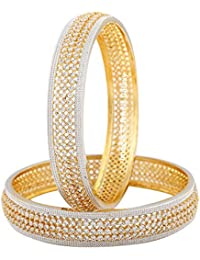 Jewels Galaxy Incredibly Floral Designed American Diamond Traditional Gold Plated Bangle Set - Set Of 2
