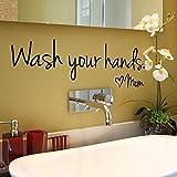 YEARNLY Wandaufkleber Kinderzimmer Wandkunst Aufkleber Aufkleber ermutigende Worte Wandtattoo Wash Your Hands Vinyl Aufkleber Badezimmer Handwaschbecken Dekoration