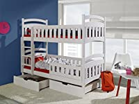 DOMINIC 2 Children Bunk Bed - Pine Wood - 24 Colours - 2 Sizes - 4 Types of Mattresses