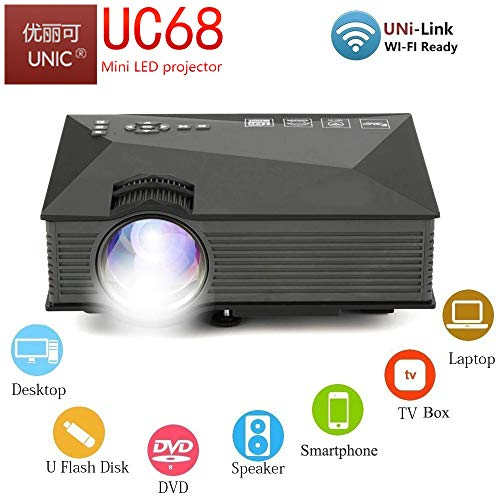 UNIC UC68 FullHD LED WiFi Projector 1800 lumi/Airplay/Miracast/HDMI/USB/SD/AV/VGA/DLAN/YouTube with Theater Effect Portable Projector